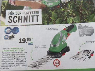 Akku Gras- und Strauchschere Florabest vom Discounter Lidl