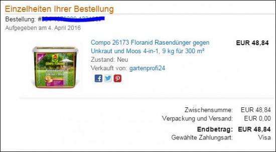 Email Bestätigung über den Kauf des 4 in 1 Rasendüngers von Compo