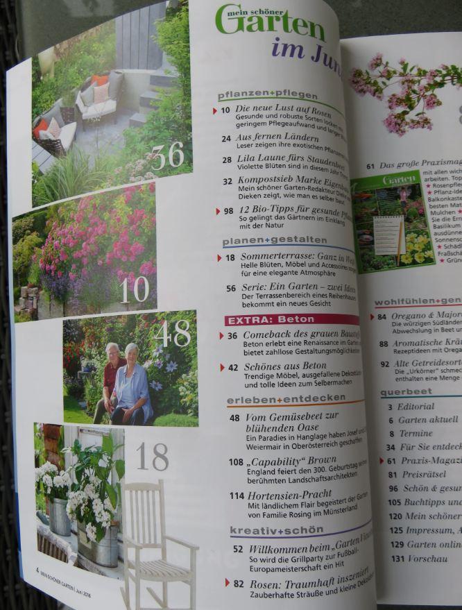 """Inhaltsverzeichnis der Juni 2016 Ausgabe von """"Mein schöner Garten"""""""