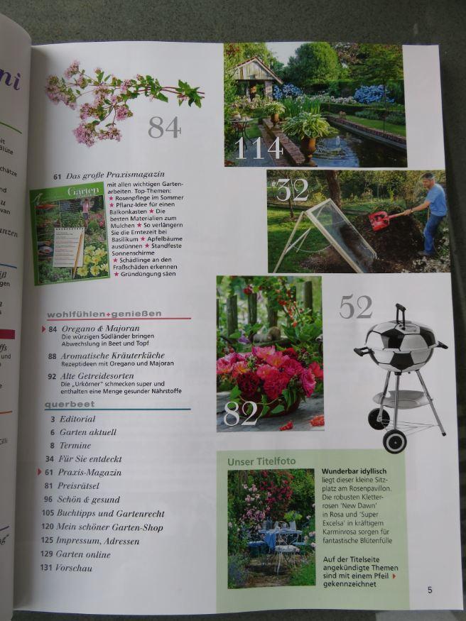 """Zweite Seite der Inhaltsangabe, der Juni 2016 Ausgabe """"mein schöner Garten"""""""