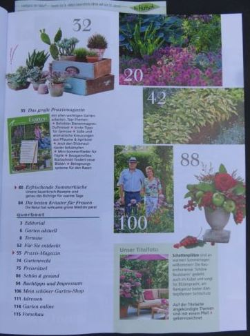"""Inhaltsangabe Seite 2 der Zeitschrift """"mein schöner Garten"""" Juli 2016"""