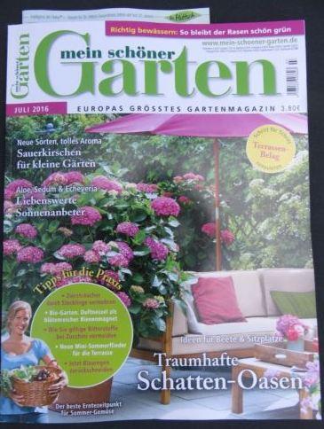 """Titelseite der Zeitschrift """"mein schöner Garten"""" Ausgabe Juli 2016"""