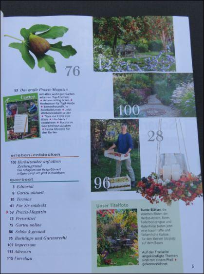 """Inhaltsverzeichnis Seite 2 der Gartenzeitschrift """"Mein schöner Garten"""" 10/2016"""